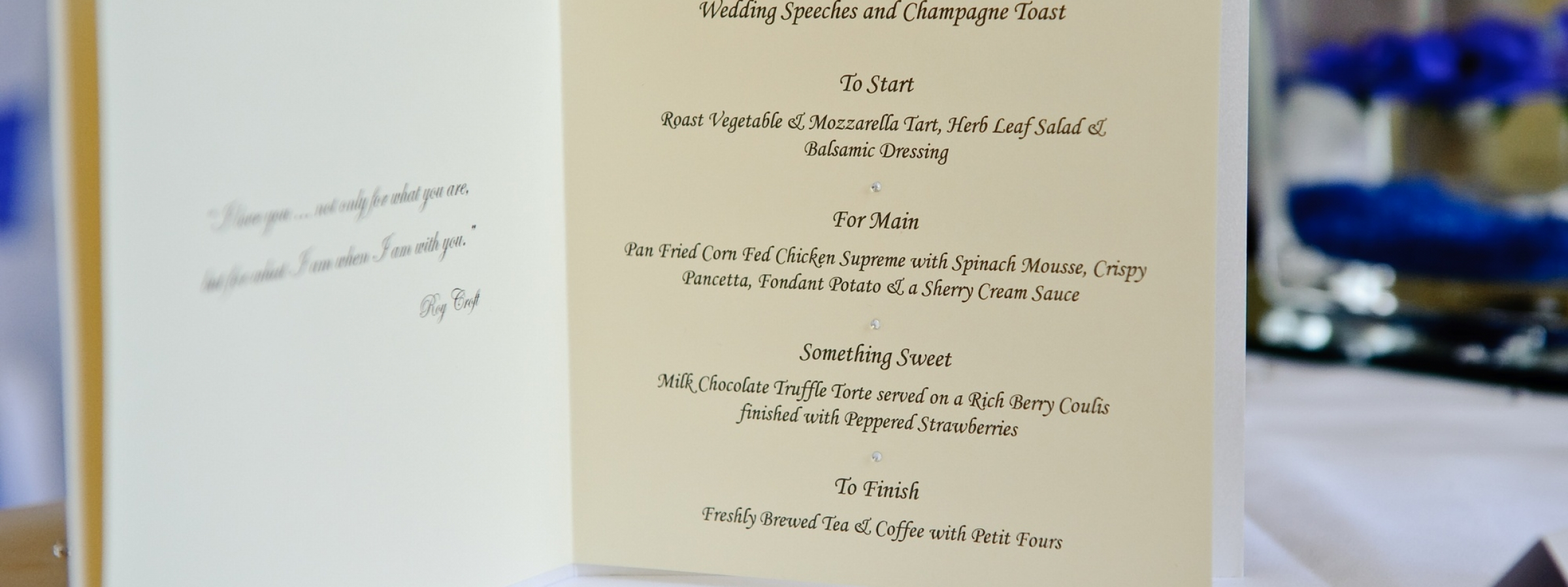 Luxury wedding menu