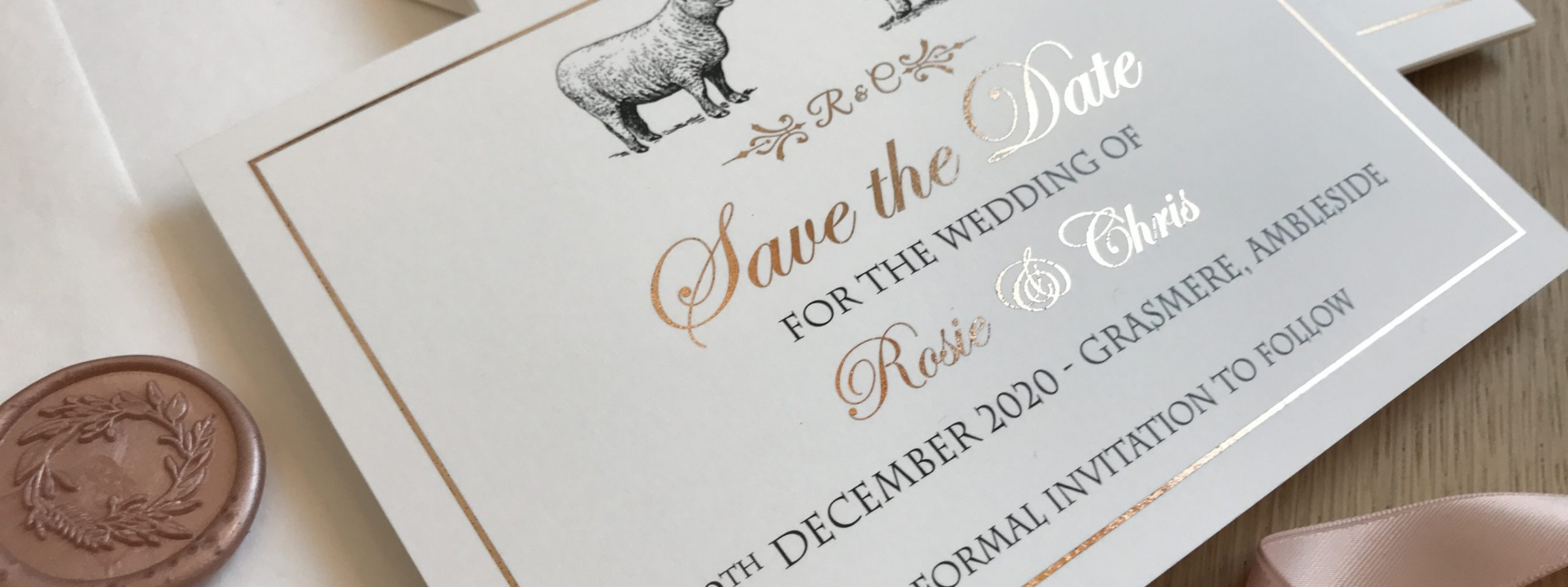 Rose gold foil Save the date